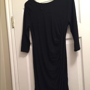 Knee Length Black Dress with Waist Detail